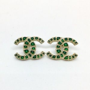 Chanel Gold CC Pierced Green Glass Acrylic Spots